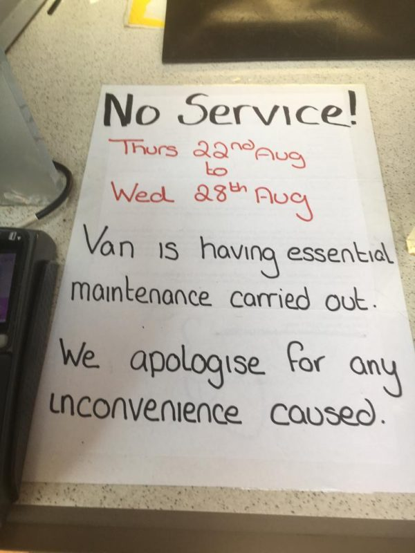 Post Ofice van maintenance