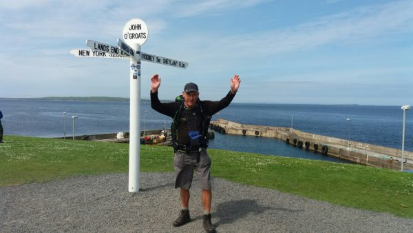 Chris Francis celebrates at John O'Groats